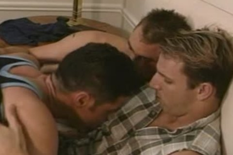 excited homosexual threesome bathroom bang