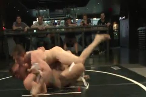 Two homo Wrestling And Getting in nature's garb In The Ring