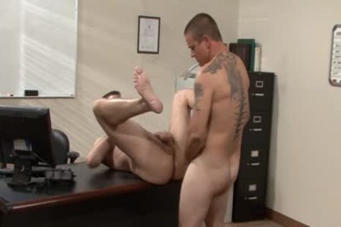 Tattooed homosexual men banging In The Office