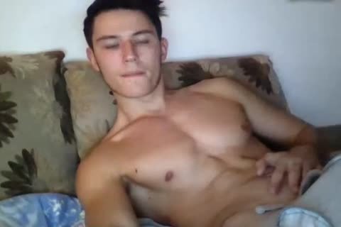 fashionable muscular homosexual lad Cums All Over His Hard Abs On web camera. naughty taut anal.