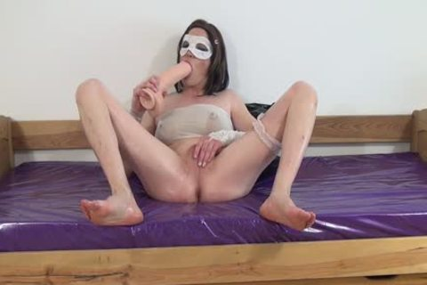 #three-Crossdresser gangbang Oiled arsehole With large sex tool -arsehole, Sissy