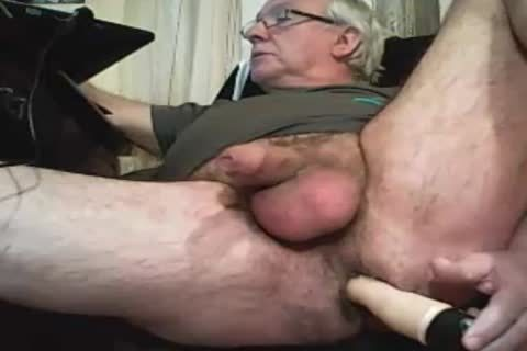 grand-dad Play With A vibrator And goo On cam