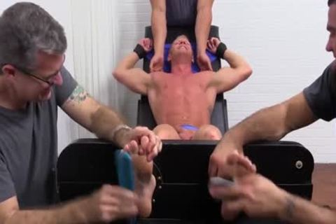 Muscled Johnny gets Tickled In His Pits And Sole By The three-some