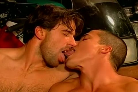 Muscled Biker dudes rough And raw hammer Feast homo orgy