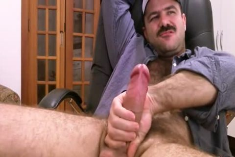 bushy Daddy Strokes fat knob & Cums