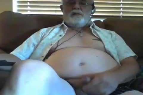 older man stroke On web camera