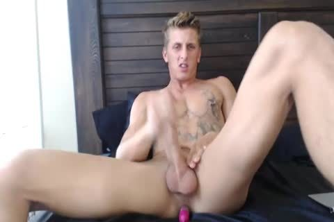 attractive blonde Monster Enjoys anal dildo whilst Jerks Off