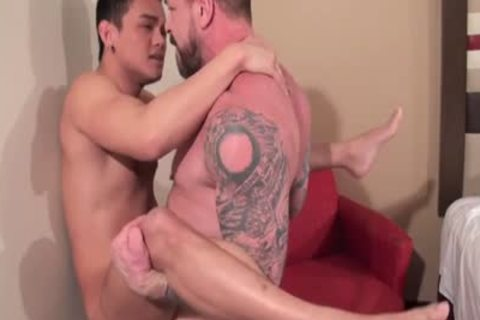 oriental Daddy butthole invasion With ball cream flow
