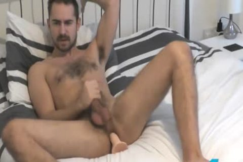 Flirt4Free Antonio West - Bearded Hunk bonks His butthole And Cums On bushy Abs