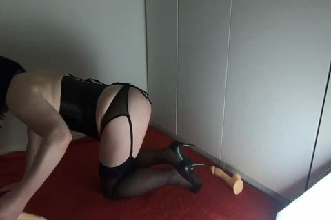 Sissy Crossdresser Lizzy Rides Double dildo And drips