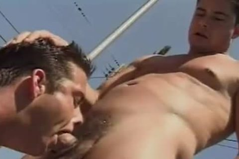 Two males suck and nail at the pool