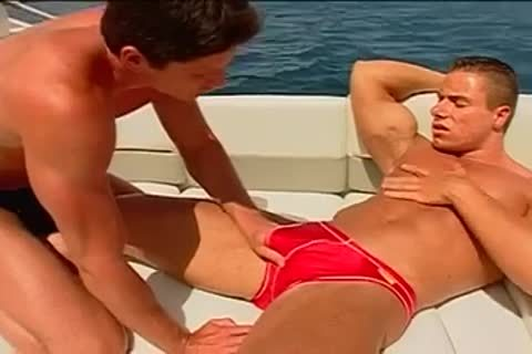 Fervent pooper pumping on the yacht with muscled males