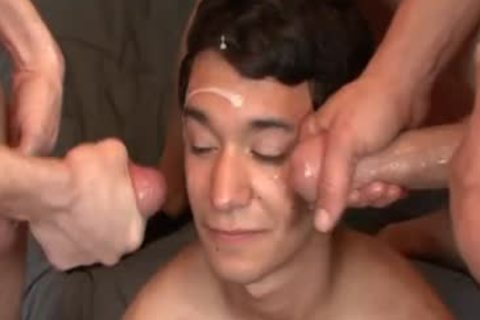 Bukkake non-professional homo acquires Drenched