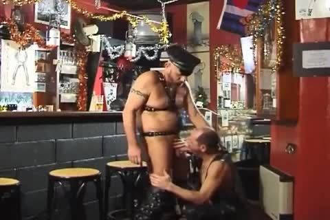 those Two large boyz Wearing Leather have a joy tasty Sex At The Bar