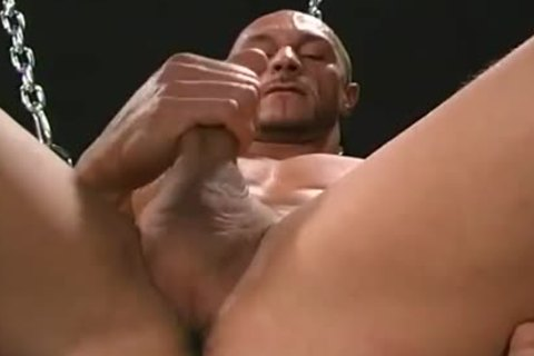 Muscled Daddy Solo And Jerking His excited Manhood whilst In Chains