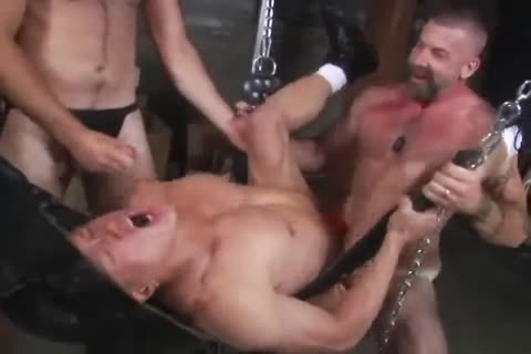 Hothouse perfectly pumped up hunks nailing in leather