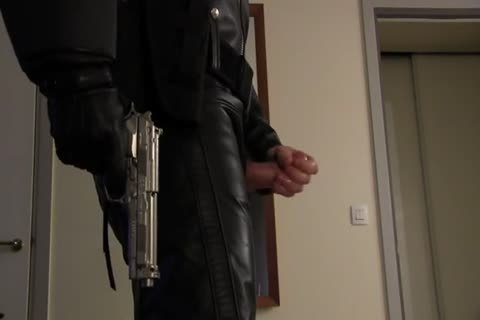 Leather Cop: Full Leather Play, Jerk, & cum
