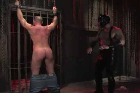 sadomasochism homosexual In Metal Restraints ass nailed