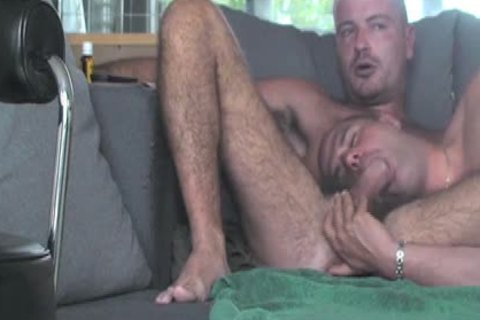 Monstrous pecker homosexual males three some and cream flow