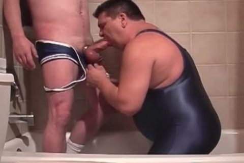 Pervy Lad Pissing In Boyfriend's Trap whilst that boy's BJing His Stiffed Tackle