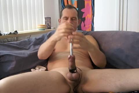 A wicked Masturbating Session With Electro Stimulation And Sounding My knob.