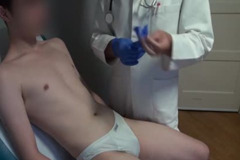 slim Japanese man Examined, hairless And Deflowered On The Doctors Examination Table. massive cum flow.