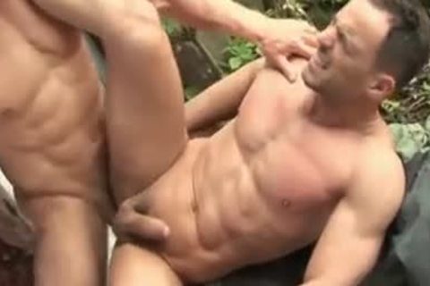 Barebacked Buff Hunk Cums