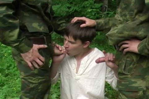 Two Military males receive bj From A young legal age teenager
