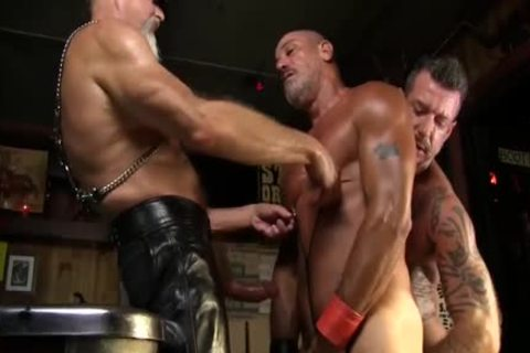 Leather Clad men plough Each Other On The Pool Table