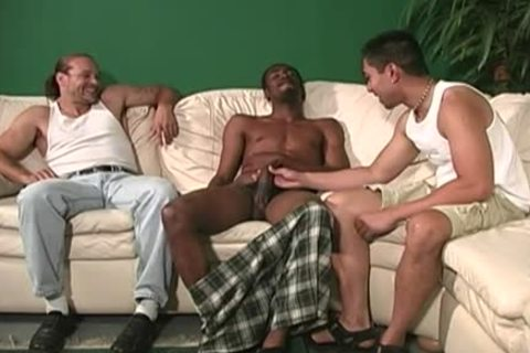 Concupiscent white lad acquires interracial gangbang