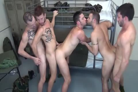 5 Military guys bareback Double bang In Barracks