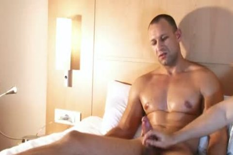 Muscle bottom acquires gangbanged in hotel room