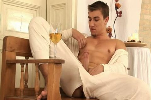 This handsome gay fellow Comes Home And Drinks Some Wine previous to His Has A Sensual Self Devotion Session
