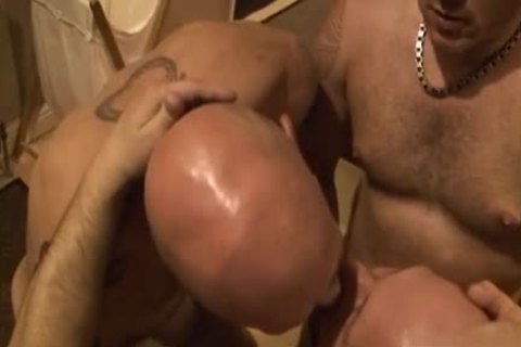 hot gay threesome With sperm flow