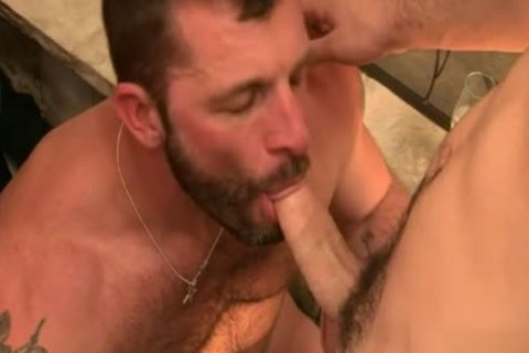 Stunning gay interracial with anal sperm flow