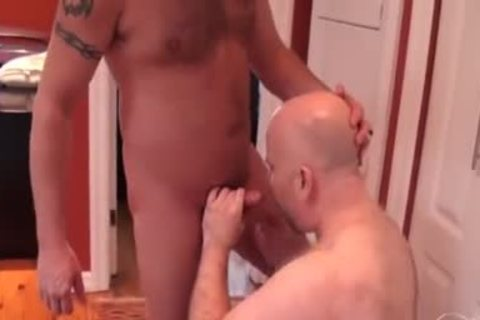 Tatted bear acquires sucked