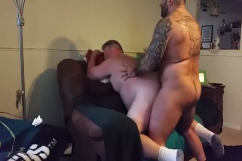 plump Daddy acquires poked By Muscle Bear