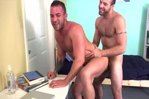 Hirsute gay ass job with cumshot