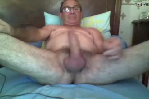 Grandad cum on web camera