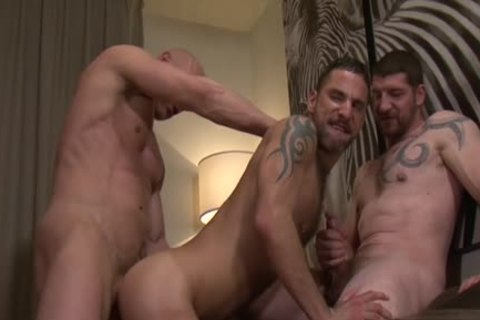 bushy gay DP And Creampie