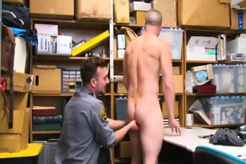 Shoplifting guy Takes penis Up His butthole And Down His face hole