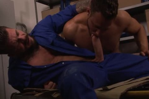 Leather gay with sexy cock