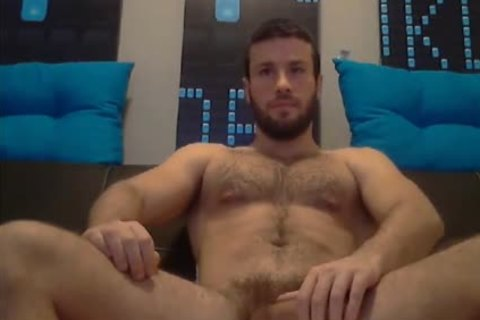 hairy muscular guy Stroking On webcam