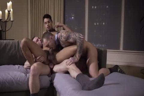 Muscle homosexual threesome With spunk flow