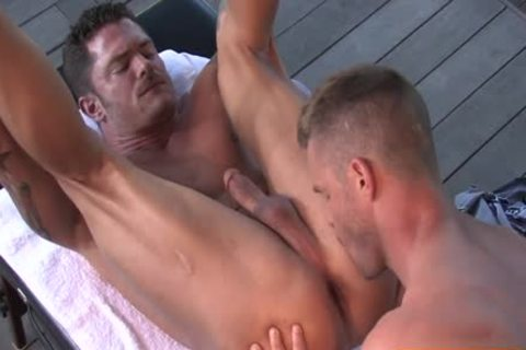 hairy Bodybuilder Outdoor Sex With ball cream flow