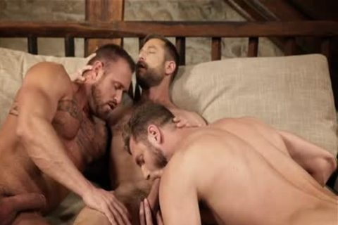 Muscle homosexual three some and cream flow