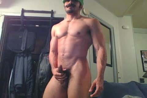 nasty str8 Hunk Disguised As Luigi Shows Off And Plays With A Fleshlight