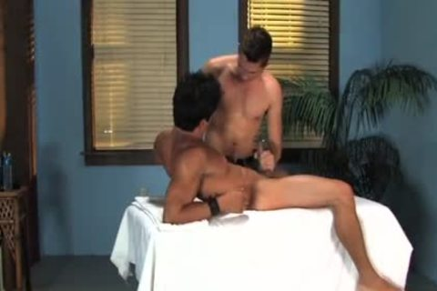 Three excited homo boyfrends love painfully ass banging