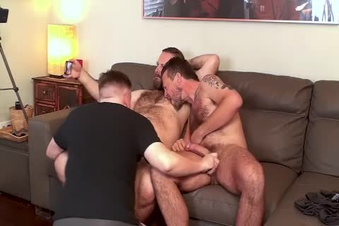 Three males sucking schlong
