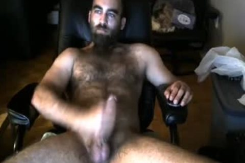 Bearded shaggy Bull shoots A thick Load